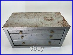 Huot Bench Top Drill CABINET & BITS Metal Lathe Machinist 3 Drawer SAE