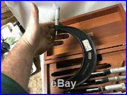 MACHINIST LATHE MILL Machinist Starrett Micrometers In Walnut Case OfCe