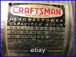 MACHINIST LATHE MILL Machinist Vintage Craftsman 1/2 HP Electric Motor FrBk AucS