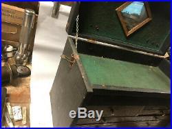 MACHINIST LATHE MILL Vintage Machinist Oak Tool Box Needs Refinishing BsmNt