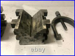 MACHINIST LATHE TOOL MILL Machinist 2 Large Brown & Sharpe V Blocks & Clamps Sfe