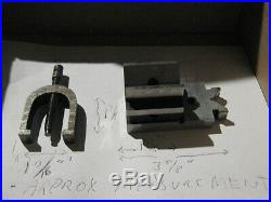 MACHINIST LATHE TOOL MILL. RARE vintage V Block and Clamp lighty signed threaded