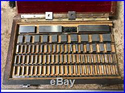 MACHINIST TOOLS LATHE MILL 81 Pc Square Gage Block Set in Wood Case OkCb