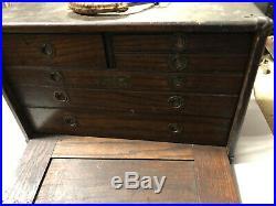 MACHINIST TOOLS LATHE MILL Antique Union Oak Machinist Tool Box Bsmnt