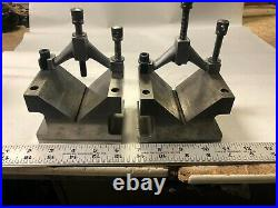 MACHINIST TOOL LATHE MILL 2 Large Taft Pierce V Blocks and Clamps ShX