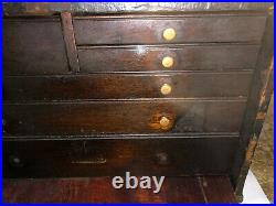MACHINIST TOOL LATHE MILL Antique Wood Machinist Tool Box OfCe