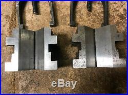 MACHINIST TOOL LATHE MILL Machinist 2 Large Starrett V Blocks & Clamps GrnCb