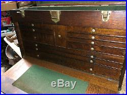 MACHINIST TOOL LATHE MILL Vintage Oak Gerstner 11 Drawer Machinist Tool Box BsmT