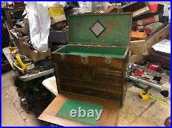 MACHINIST TOOL LATHE Vintage Gerstner Oak Machinist Tool Box BsmnT