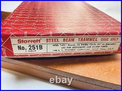 Starrett 251 Trammel Points Set in Wood Case with Box LATHE MILL Machinist