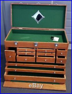 Wood MACHINIST TOOL CHEST Cabinet Jewelers Case Watchmakers lathe levin collet